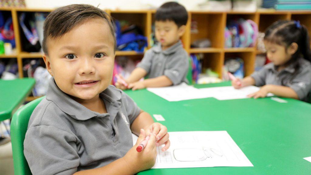 Happy elementary student